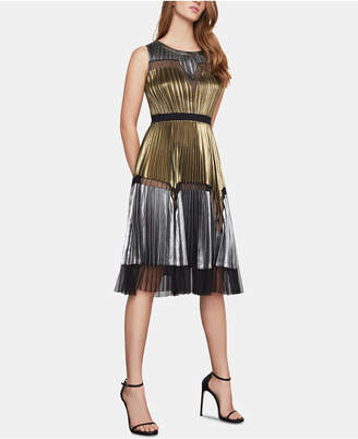 BCBGMAXAZRIA Lucea Colorblocked Pleated Dress