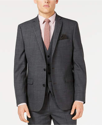 Bar III Men's Slim-Fit Active Stretch Gray Windowpane Sharkskin Suit Jacket