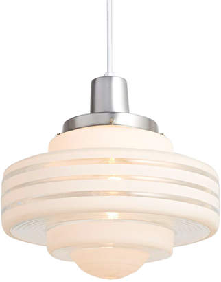 Rejuvenation Large Art Deco Pendant w/ Brushed Aluminum Fixture