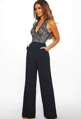 8b5259ae2be Pink Boutique Lace Luxe Navy Lace Wide Leg Jumpsuit
