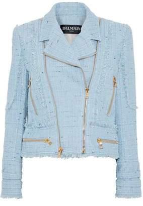 Balmain Zip-Detailed Cotton-Blend Tweed Biker Jacket