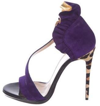 Christian Louboutin Ponyhair Spiked Sandals