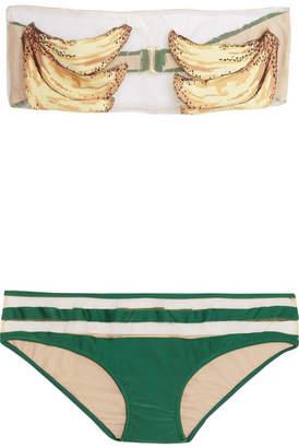 Adriana Degreas - Banana Mesh-trimmed Printed Bandeau Bikini - Emerald