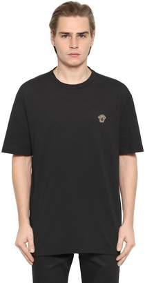 Versace Medusa Embroidered Detail Jersey T-Shirt