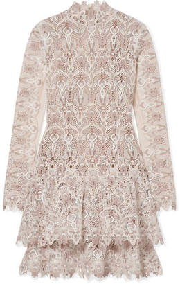 Jonathan Simkhai Tulle-paneled Guipure Lace Mini Dress - Beige