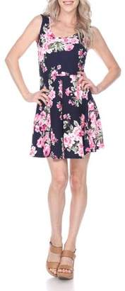 White Mark Women's Flower Print Fit and Flare Dress