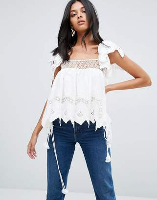 To Be Adored Liza Embroidery Anglaise Lace Top