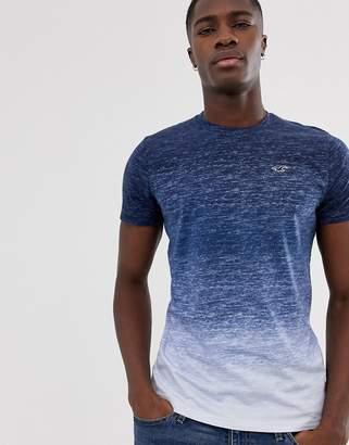 3617b24f Hollister icon logo crew neck t-shirt in navy dip dye