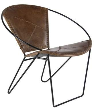 DecMode Decmode Modern 29 X 30 Inch Leather And Iron Chair