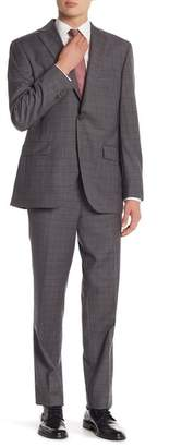 David Donahue Grey\u002FBrown Plaid Two Button Notch Lapel Classic Fit Suit