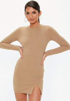 Missguided Camel Crepe Long Sleeve Bodycon Dress
