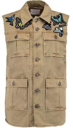 Cinq à Sept Distressed Denim Cotton-Twill Appliquéd Vest
