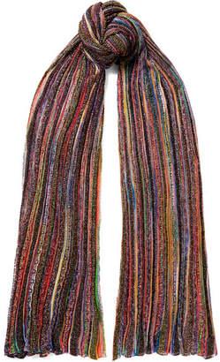 Missoni Striped Metallic Crochet-knit Scarf - Purple