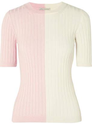 Emilia Wickstead Naomi Two-tone Ribbed Wool Sweater - Pink