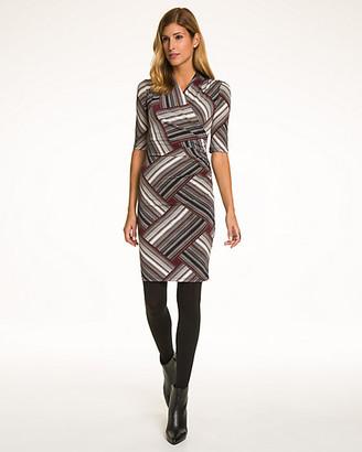 Le Château Patchwork Print Knit Faux Wrap Dress
