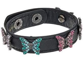 Betsey Johnson Multi Stone Butterfly Leather Snap Bracelet