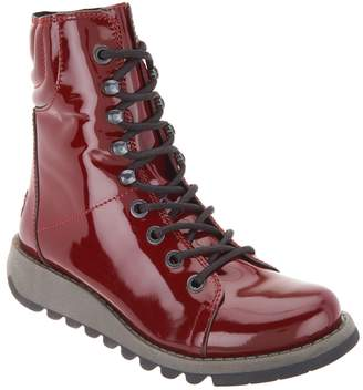 Fly London Patent Leather Lace-up Mid Boots - Same