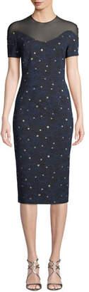 Escada Short-Sleeve Night-Sky Jacquard Sheath Dress