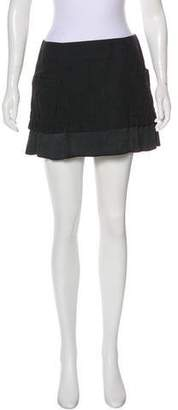 Rochas Suede-Trimmed Mini Skirt