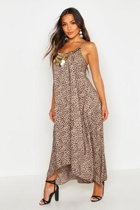 26c90c6c4622 boohoo Petite Leopard Print Beaded Hanky Hem Dress