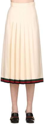 Gucci Pleated Silk Twill Midi Skirt