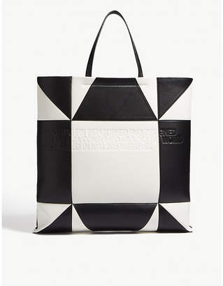 Calvin Klein White And Black Geometric Giant Geometric-Pattern Leather Tote Bag