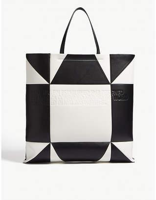 Calvin Klein Giant geometric-pattern leather tote