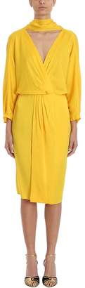 Diane von Furstenberg V Neck Yellow Crepe Dress