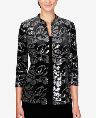 Alex Evenings Sequined Velvet Jacket & Top
