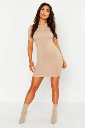 boohoo Crew Neck Cap Sleeve Bodycon Dress