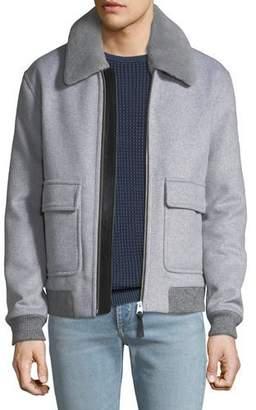 Mackage Men's Fur-Trim Wool Bomber Jacket