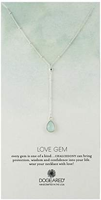 Dogeared Love Gem Beaded Green Chalcedony Gem Sterling Silver Y-Shaped Necklace
