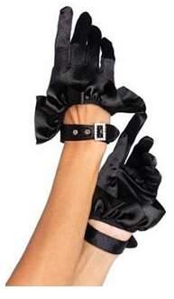 Leg Avenue Women's Cropped Satin Ruffle Gloves, Black, One Size