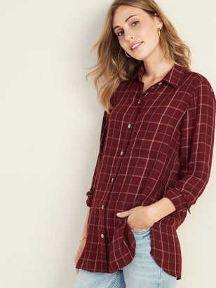 Old Navy Plaid Drapey Twill Tunic Shirt for Women