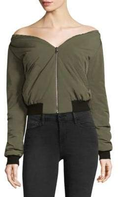 L'Agence Ilaria Off-The-Shoulder Bomber Jacket