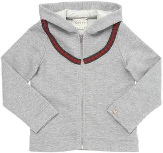 Gucci Hooded Cotton Blend Zip Up Sweatshirt