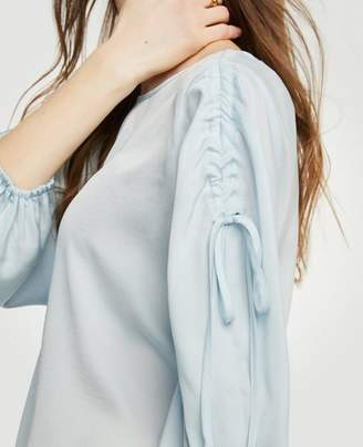Ann Taylor Petite Shirred Tie Sleeve Blouse