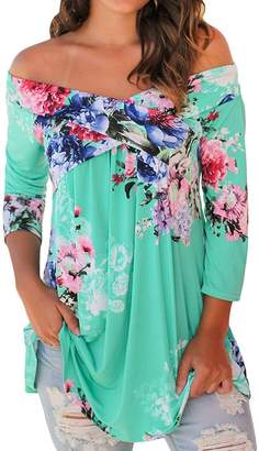 Floral Seasons Womens Summer Ladies Amazon Casual Shirts Off The Shoulder Long Sleeve Floral Blouses Tops