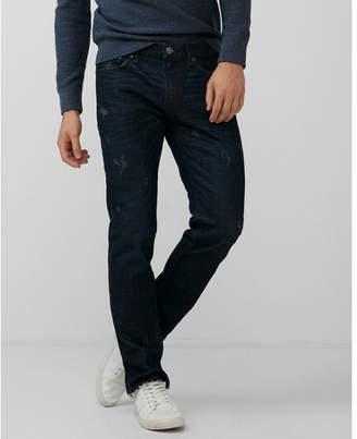 Express slim dark wash raw cut hem stretch jeans