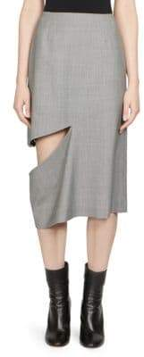 Maison Margiela Wool Houndstooth Slit Pencil Skirt