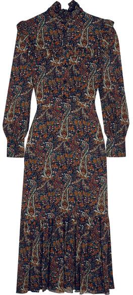 Saint LaurentSaint Laurent - Ruffled Paisley-print Crepe Midi Dress - Brown