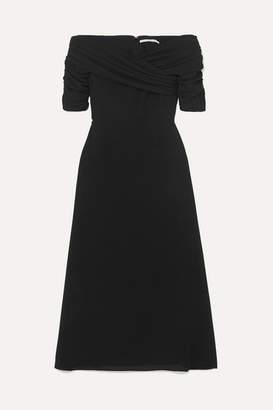 Emilia Wickstead Françoise Off-the-shoulder Ruched Crepe De Chine Midi Dress - Black