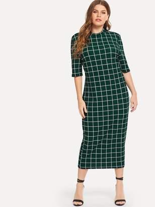 Shein Plus Mock Neck Grid Print Form Fitting Dress