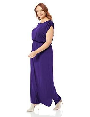 Lyss Loo Women's Plus Size Timeless Elastic Waist Cap Sleeve Maxi