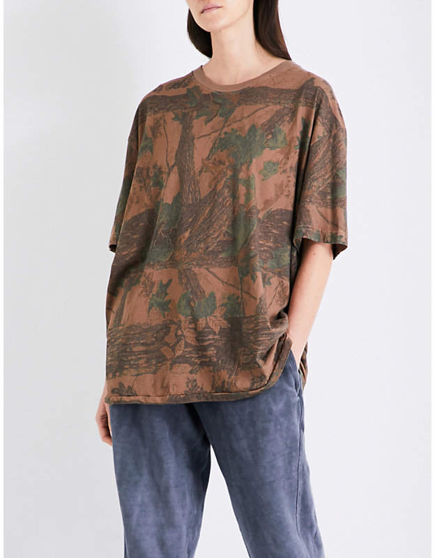 Yeezy Season 4 leaf-printed cotton-jersey T-shirt
