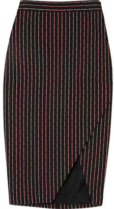 Altuzarra Wilcox Wrap-effect Pinstriped Cotton-blend Midi Skirt - Black