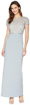 Adrianna Papell Short Sleeve Bead Bodice Gown with Solid Stretch Crepe Skirt Women's Dress