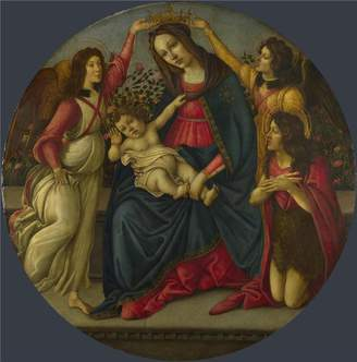 Sandro Oil Paintings Canvas Prints high quality polyster Canvas ,the Replica Art DecorativePrints on Canvas of oil painting 'Workshop of Botticelli The Virgin and Child with Saint John and Two Angels ', 18 x 18 inch / 46 x 46 cm is best for Home Theater decoration and Home decor and Gifts