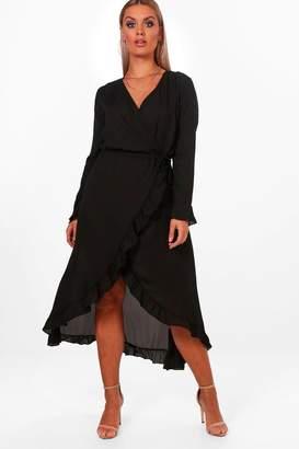 boohoo Plus Maya Ruffle Wrap Midi Tea Dress