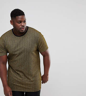 Asos DESIGN PLUS Longline T-Shirt In Gold Metallic Herringbone